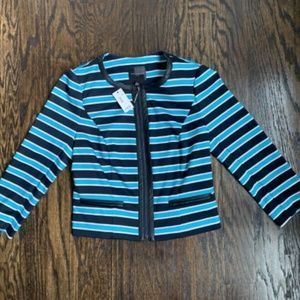 NWT The Limited Leather Trimmed Striped Jacket